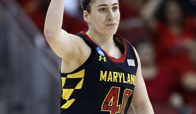 CORRECTS TO KATIE RUTAN, INSTEAD OF LEXIE_BROWN - Maryland guard Katie Rutan (40) reacts after hitting a 3-point basket against Louisville during the first half of a regional final in the NCAA women's college basketball tournament, Tuesday, April 1, 2014, in Louisville, Ky. (AP Photo/John Bazemore)