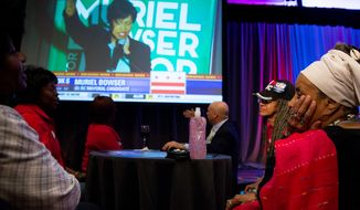Maia Yeboah, right, and others watch as Muriel Bowser delivers her victory speech before Washington, D.C. Mayor Vincent Gray delivered his concession speech on election night at the Hyatt Regency on Capitol Hill after losing to Ms. Bowser, Washington, D.C., Tuesday, April 1, 2014. (Andrew Harnik/The Washington Times)