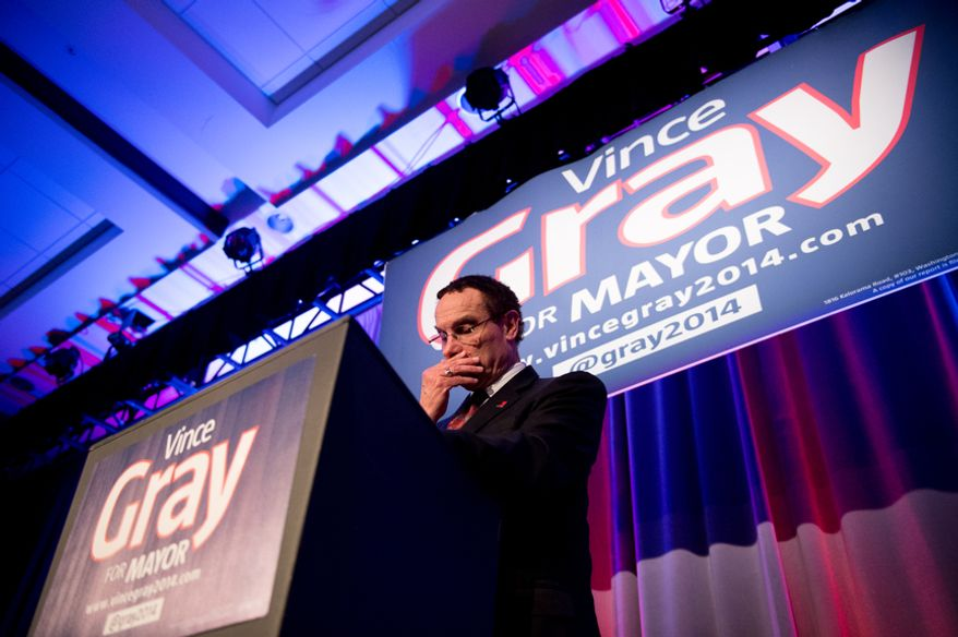 D.C. Mayor Vincent Gray delivered his concession speech on election night at the Hyatt Regency on Capitol Hill after losing to Muriel Bowser, Washington, D.C., Tuesday, April 1, 2014. (Andrew Harnik/The Washington Times)