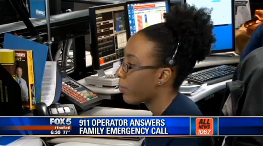 Crystal Morrow, a 911 emergency operator in Dekalb County, Ga., was only four hours into her first day on the job when she got a call from a familiar voice. (My Fox Atlanta)