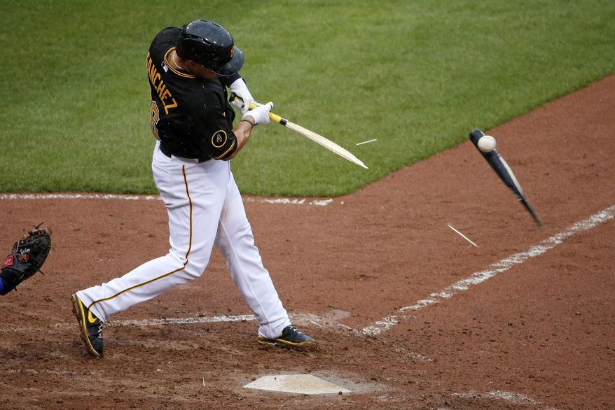 Pittsburgh Pirates' Tony Sanchez breaks his bat on a pop up to Chicago Cubs relief pitcher Pedro Strop who caught it and threw to first to complete a game-ending double play on Pirates' Neil Walker during the ninth inning of a baseball game in Pittsburgh, Thursday, April 3, 2014. The Cubs won 3-2.(AP Photo/Gene J. Puskar)