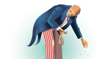 Illustration on federal campaign donation law by Linas Garsys/The Washington Times