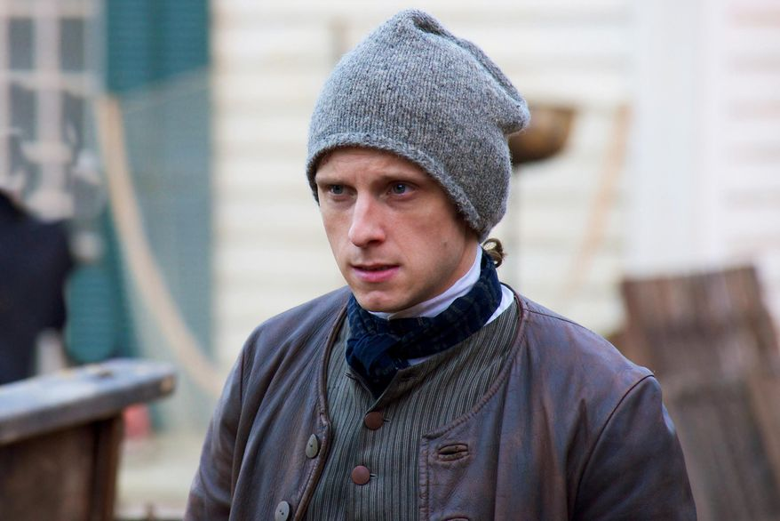 "This image released by AMC shows Jamie Bell as Abe Woodhull in a scene from ""Turn,"" premiering Sunday at 9 p.m. EDT. (AP Photo/AMC, Antony Platt)"