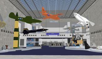"This undated artist rendering provided by the National Air and Space Museum, Smithsonian Institution shows changes to Milestones of Flight Hall at the National Air and Space Museum in Washington.  For the first time since its 1976 opening, the Smithsonian's National Air and Space Museum plans to overhaul its central exhibition showing the milestones of flight. The extensive renovation announced Thursday will be carried out over the next two years with portions of the exhibit closing temporarily over time, said Museum Director J.R. ""Jack"" Dailey.  (AP Photo/National Air and Space Museum, Smithsonian Institution)"