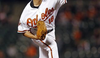 Baltimore Orioles starting pitcher Wei-Yin Chen, of Taiwan, throws to the Boston Red Sox in the fourth inning of a baseball game on Thursday, April 3, 2014, in Baltimore. (AP Photo/Patrick Semansky)
