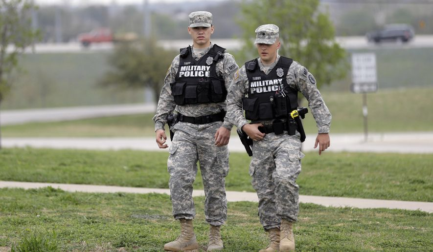 Military Police Patrol Near Fort Hood S Main Gate