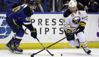 Buffalo Sabres' Cody Hodgson, right, and St. Louis Blues' Maxim Lapierre chase after a loose puck during the first period of an NHL hockey game on Thursday, April 3, 2014, in St. Louis. (AP Photo/Jeff Roberson)