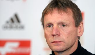 Stuart Pearce who will be Nottingham Forest manager from July 1 attends a  conference at The City Ground, Nottingham England Thursday April 3, 2014. Stuart Pearce will take over as Nottingham Forest manager from July 1, the club's owner and chairman Fawaz Al Hasawi has announced. (AP Photo/ Rowan Staszkiewicz/PA) UNITED KINGDOM OUT