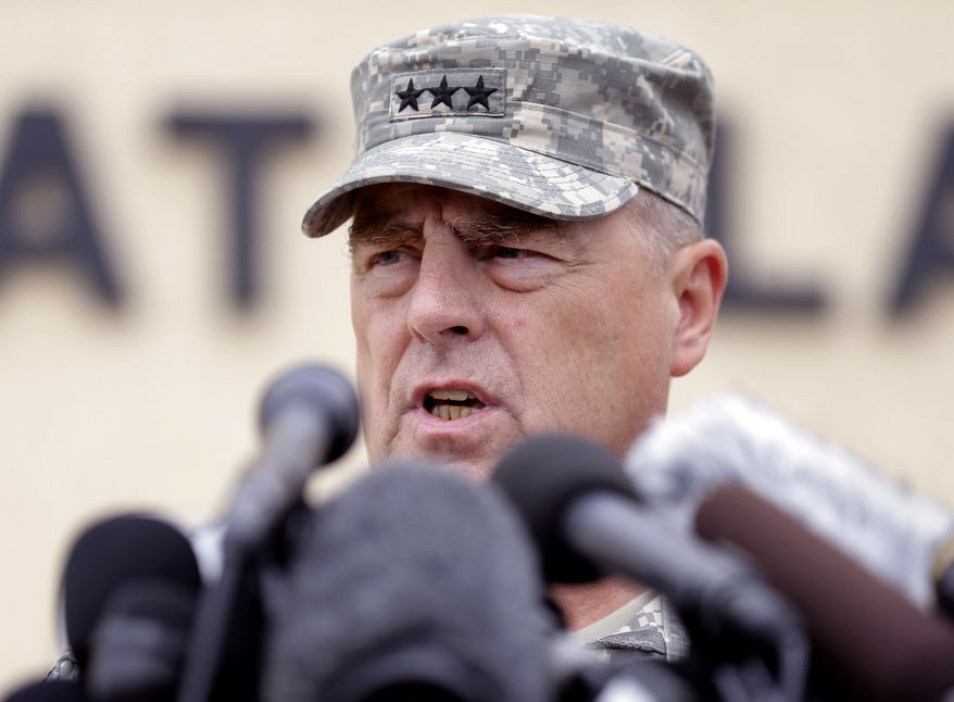 Lt. Gen. Mark Milley talks to the media near Fort Hood's main gate, Thursday, April 3, 2014, in Fort Hood, Texas. A soldier opened fire Wednesday on fellow service members at the Fort Hood military base, killing three people and wounding 16 before committing suicide. (AP Photo/Eric Gay)