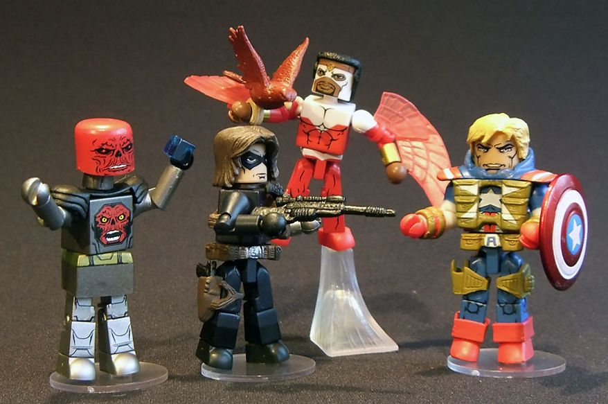 Diamond Select Toys' Series 54 of Minimates includes Robot Red Skull, Winter Soldier, The Falcon and Fighting Chance Captain America. (Photograph by Joseph Szadkowski / The Washington Times)