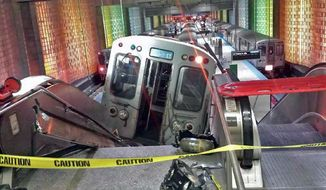 FILE - In this March 24, 2014 file photo a Chicago public-transit train rests on an escalator after it jumped the tracks at Chicago's O'Hare International Airport station. Chicago transit officials say the train operator who acknowledged dozing off before the crash was fired Friday, April 4, 2014. 30 passengers were injured in the crash. (AP Photo/NBC Chicago, Kenneth Webster) MANDATORY CREDIT