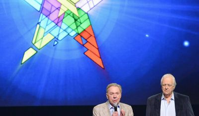 """Composer Andrew Lloyd Webber, left, and lyricist Tim Rice announce the new """"Jesus Christ Superstar"""" North American arena tour at a press conference and performance on Friday, April 4, 2014, in New York. (Photo by Evan Agostini/Invision/AP)"""