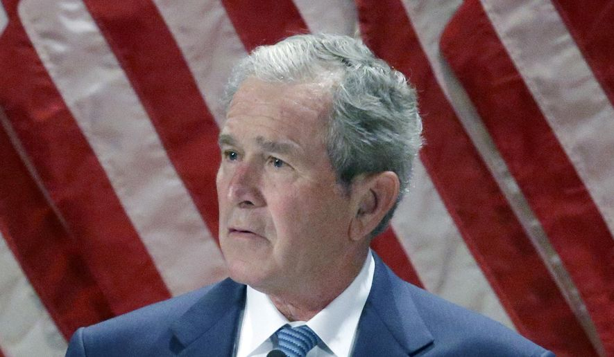 Former President George W. Bush speaks at the George W. Bush Institute at Southern Methodist University in Dallas on Feb. 19, 2014. (Associated Press) **FILE**