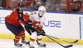 Florida Panthers defenseman Dmitry Kulikov (7) and Calgary Flames left wing Ken Agostino (51) fight for the puck during the first period of an NHL hockey game in Sunrise, Fla.,  Friday, April 4, 2014. (AP Photo/Terry Renna)
