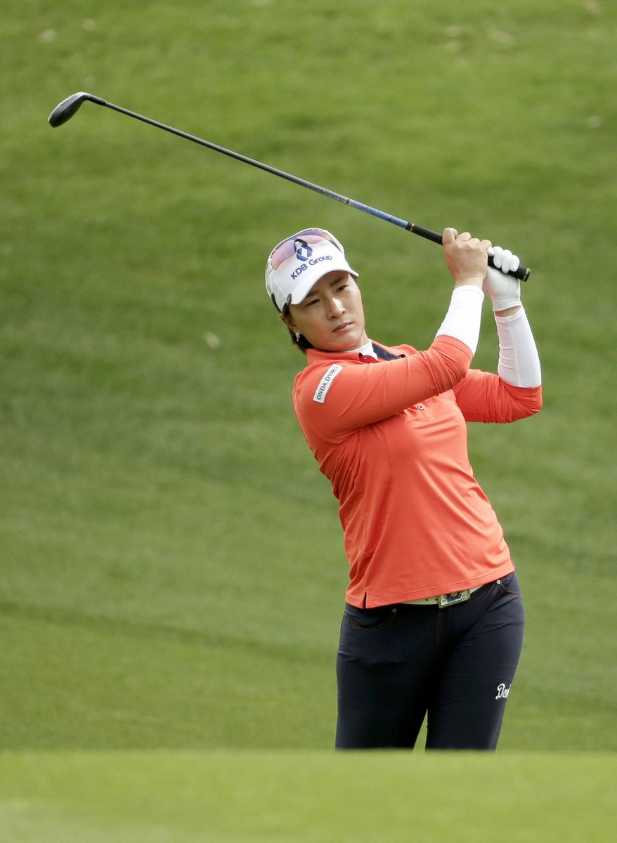Se Ri Pak, of South Korea, hits from the fairway on the 11th hole during the second round of the Kraft Nabisco Championship golf tournament Friday, April 4, 2014, in Rancho Mirage, Calif. (AP Photo/Chris Carlson)