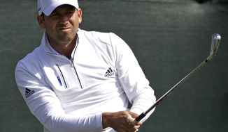 Sergio Garcia tees off on the first hole during the second round of the Houston Open golf tournament, Friday, April 4, 2014, in Humble, Texas. (AP Photo/Patric Schneider)