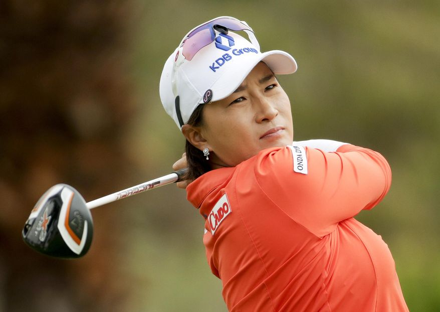 Se Ri Pak, of South Korea, watches her tee shot on the 11th hole during the second round of the Kraft Nabisco Championship golf tournament Friday, April 4, 2014, in Rancho Mirage, Calif. (AP Photo/Chris Carlson)