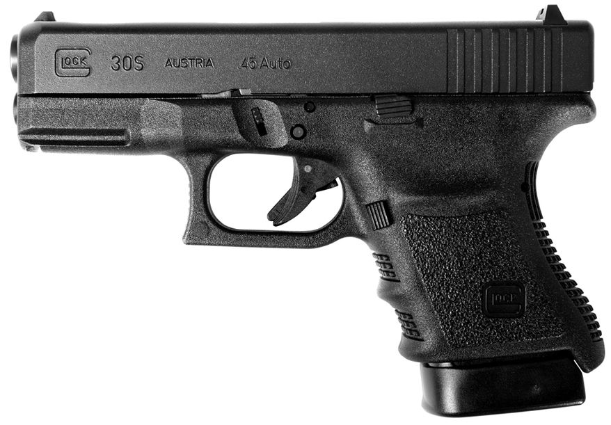 Glock 30S subcompact pistol combines the full capacity .45 auto round count with a slimmer slide. This pistol offers a lighter, more easily concealable option for legal concealed-carry enthusiasts.
