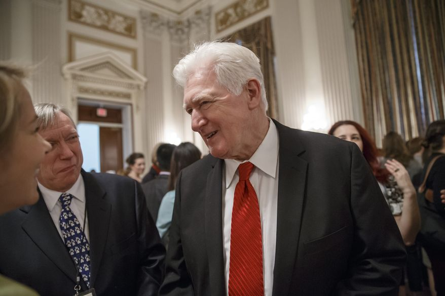 "Rep. Jim Moran, D-Va., center, greets guest at a pet adoption event sponsored by the Congressional Animal Protection Caucus which he chairs to highlight animal welfare issues in Congress, on Capitol Hill in Washington, Friday, April 4, 2014. Moran said this week that ""members of Congress are underpaid,"" and the congressional salary of $174,000 a year for most isn't enough for some. Moran, whose Virginia district abuts Washington, says he will offer an amendment to legislation to fund Congress' budget next week to help lawmakers with the cost of living. (AP Photo/J. Scott Applewhite)"