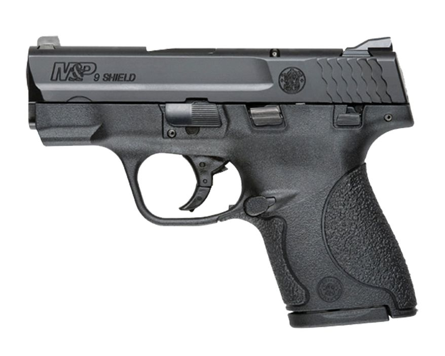 Smith & Wesson's  M&P SHIELD 9mm is a slim, concealable, lightweight, striker-fired polymer pistol.  The pistol is easily concealed with its one-inch profile and optimized 18-degree grip angle. With a 3.1-inch barrel, which contributes to an overall length of 6.1 inches and an unloaded weight of 19 ounces. For fast tracking and smooth target acquisition, the M&P SHIELD is standard with a 5.3-inch sight radius and has been enhanced with a short, consistent trigger pull measuring 6.5 pounds. Featuring a quick and audible reset made possible by the striker-fired action, the M&P SHIELD allows multiple rounds to be placed on target both consistently and accurately.