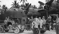 Gov. Rick Perry seeks information about World War II MIAs... including B-24 crews who were lost near Palua, in the Pacific Theater.  Shown is a  B-24 Liberator bomber and crew of US 7th Air Force at Funafuti, Ellice Islands, circa May 1943.  (US Archives)