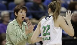 FILE - In this March 8, 2014, file photo, Notre Dame head coach Muffet McGraw, left, talks with Madison Cable, right, during the first half of an NCAA college basketball semifinal game against North Carolina State at the Atlantic Coast Conference tournament in Greensboro, N.C. McGraw was selected coach of the year for the second straight season. (AP Photo/Chuck Burton, File)