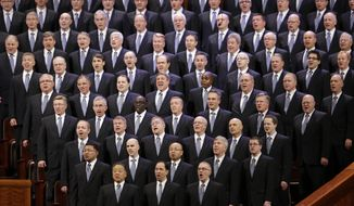 Members of the Mormon Tabernacle Choir sing during the opening session of the two-day Mormon church conference Saturday, April 5, 2014, in Salt Lake City. More than 100,000 Latter-day Saints are expected in Salt Lake City this weekend for the church's biannual general conference. Leaders of The Church of Jesus Christ of Latter-day Saints give carefully crafted speeches aimed at providing members with guidance and inspiration in five sessions that span Saturday and Sunday. They also make announcements about church statistics, new temples or initiatives. In addition to those filling up the 21,000-seat conference center during the sessions, thousands more listen or watch around the world in 95 languages on television, radio, satellite and Internet broadcasts. (AP Photo/Rick Bowmer)