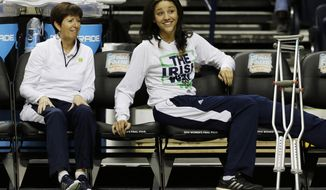 Notre Dame's Natalie Achonwa and Notre Dame head coach Muffet McGraw watch practice  before the women's Final Four of the NCAA college basketball tournament, Saturday, April 5, 2014, in Nashville, Tenn. Notre Dame will play Maryland Sunday. (AP Photo/Mark Humphrey)