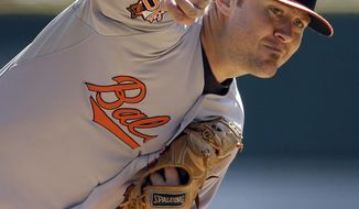 Baltimore Orioles starting pitcher Chris Tillman throws during the first inning of a baseball game against the Detroit Tigers in Detroit, Sunday, April 6, 2014. (AP Photo/Carlos Osorio)