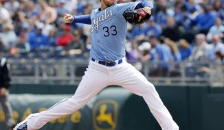 Kansas City Royals starting pitcher James Shields delivers to a Chicago White Sox batter during the first inning of a baseball game at Kauffman Stadium in Kansas City, Mo., Sunday, April 6, 2014. (AP Photo/Orlin Wagner)