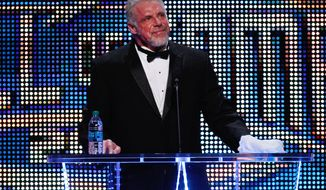 The Ultimate Warrior speaks during the WWE Hall of Fame Induction at the Smoothie King Center in New Orleans on Saturday, April 5, 2014. (Jonathan Bachman/AP Images for WWE)
