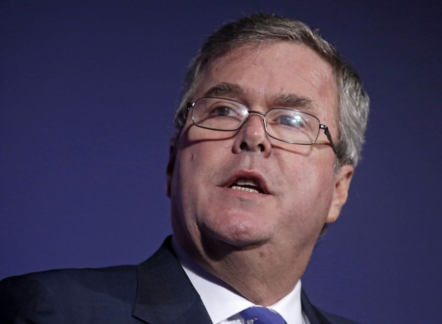 ** FILE ** In this Aug. 9, 2013, file photo, former Florida Gov. Jeb Bush speaks in Chicago. (AP Photo/M. Spencer Green, File)