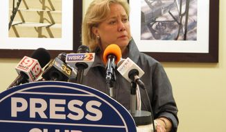 ** FILE ** U.S. Sen. Mary Landrieu speaks to the Press Club of Baton Rouge on Monday, April 7, 2014. Landrieu dodged questions about state legislation seeking to undo a lawsuit filed by a south Louisiana levee board against oil and gas companies. (AP Photo/Melinda Deslatte)