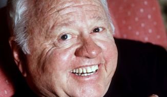 ** FILE ** Entertainer Mickey Rooney is shown in this May 1987 file photo. Rooney, a Hollywood legend whose career spanned more than 80 years, has died. He was 93. Los Angeles Police Commander Andrew Smith said that Rooney was with his family when he died Sunday, April 6, 2014, at his North Hollywood home. (AP Photo/File)