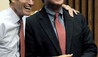 FILE - In this Oct. 16, 2010 file photo, Ted Kennedy Jr., right, shares a light moment with Connecticut Attorney General Richard Blumenthal, who was campaigning for U.S. Senator in Connecticut, in New Haven, Conn. Two people told The Associated Press on Monday, April 7, 2014, that Kennedy, son of the late U.S. Sen. Ted Kennedy of Massachusetts, will announce on Tuesday he intends to seek the Democratic nomination for the 12th Senatorial District seat, being vacated by retiring Guilford, Conn., Edward Meyer.  (AP Photo/Bob Child, File)