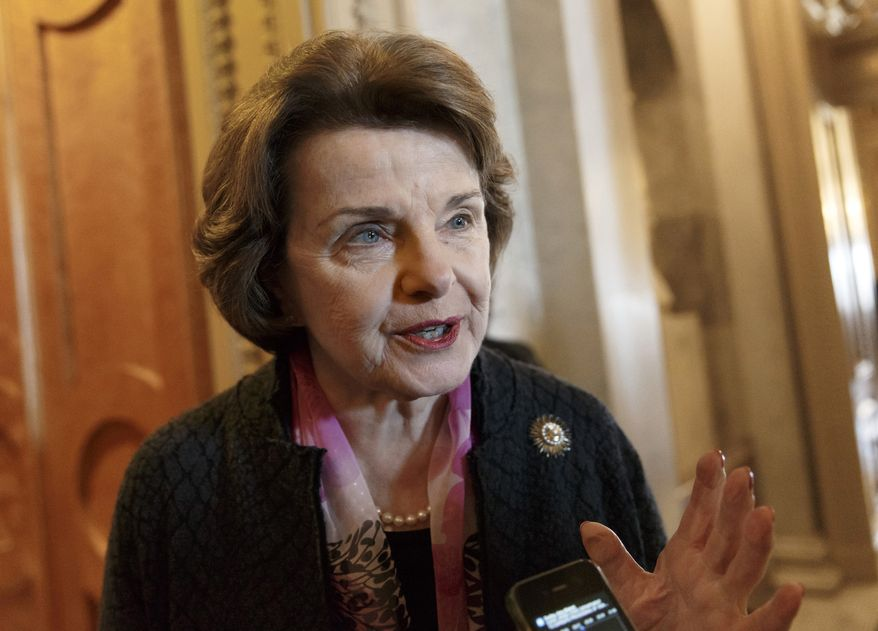 ** FILE ** This March 27, 2014, file photo shows Senate Intelligence Committee Chair Sen. Dianne Feinstein, D-Calif. speaking on Capitol Hill in Washington. (AP Photo/J. Scott Applewhite, File)