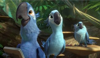 "This image released by 20th Century Fox shows Blu, voiced by Jesse Eisenberg, from left, Jewel, voiced by Anne Hathaway and Carla, voiced by Rachel Crow, in a scene from the animated film ""Rio 2."" (AP Photo/20th Century Fox- Blue Sky Studios)"
