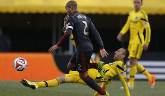 Columbus Crew forward Justin Meram, bottom, stretches for the ball against Toronto FC defender Justin Morrow (2) during the second half of an MLS soccer match in Columbus, Ohio, Saturday, April 5, 2014. Toronto FC won 2-0. (AP Photo/Columbus Dispatch, Sam Greene)