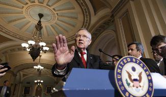 Senate Majority Leader Harry Reid of Nev. talks about the gender pay gap as the Senate begins debate on wage equity, during a news conference, Tuesday, April 8, 2014, on Capitol Hill in Washington.  (AP Photo/J. Scott Applewhite)