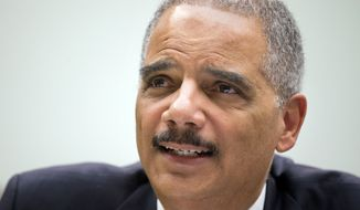 Attorney General Eric Holder testifies on Capitol Hill in Washington, Tuesday, April 8, 2014, before the House Judiciary Committee hearing on the oversight of the Justice Department.  (AP Photo/Manuel Balce Ceneta)