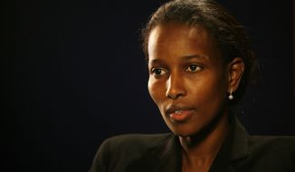 """In this Monday, Feb. 5, 2007 photo, Ayaan Hirsi Ali, writer of the film """"Submission,"""" which criticized the treatment of women in traditional Islam and led to the murder of Dutch film director Theo Van Gogh, talks to a reporter in New York. Brandeis University in Massachusetts is taking heat from some of its own about plans to give an honorary degree to Ali, who has made comments critical of Islam. (AP Photo/Shiho Fukada)"""