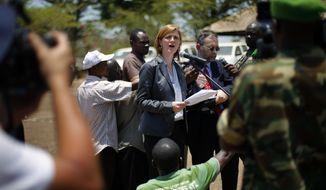 U.S. Ambassador to the U.N. Samantha Power addresses Wednesday April 9, 2014  top officials from the African peacekeeping mission known as MISCA, in Bangui, Central African Republic. Power urged more support for the existing African and French troops in Central African Republic on the eve of a U.N. vote to create a peacekeeping mission expected to take at least five months to have ready on the ground. (AP Photo/Jerome Delay)