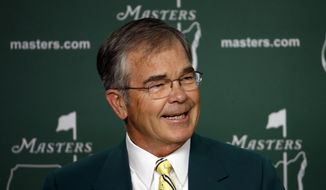 Billy Payne, chairman of Augusta National Golf Club, speaks during a press conference before the Masters golf tournament Wednesday, April 9, 2014, in Augusta, Ga. (AP Photo/Matt Slocum)