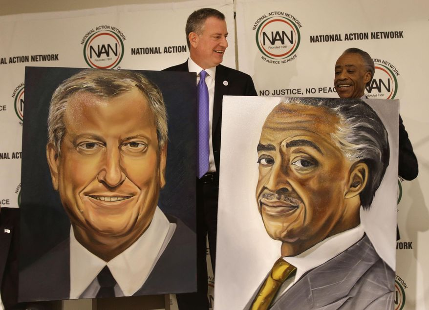 New York City Mayor Bill de Blasio, left, and Rev. Al Sharpton are presented with portraits during the opening ceremonies of the National Action Network convention in New York, Wednesday, April 9, 2014. The 16th annual convention will run through April 12, 2014. (AP Photo/Seth Wenig)