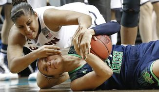 Connecticut forward Kaleena Mosqueda-Lewis (23) and Notre Dame guard Kayla McBride (21) scramble for the ball during the first half of the championship game in the Final Four of the NCAA women's college basketball tournament, Tuesday, April 8, 2014, in Nashville, Tenn. (AP Photo/Mark Humphrey)