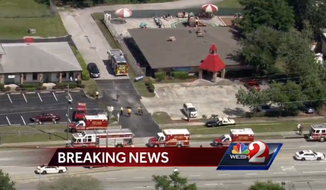 A hit-and-run driver crashed into Goldenrod Road KinderCare in East Orange County, Florida, on Wednesday afternoon, killing one person and injuring at least 11 others, police said. (WESH-TV)