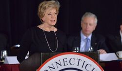 ** FILE ** Linda McMahon speaks during the 36th annual Prescott Bush Awards Dinner at the Stamford Hilton, Stamford, Conn., Thursday night, April 10, 2014. (AP Photo/The Time, Bob Luckey)