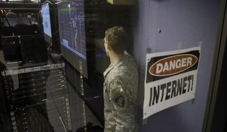 ** FILE ** A United States Military Academy cadet checks computers at the Cyber Research Center at the United States Military Academy in West Point, N.Y., Wednesday, April 9, 2014. (AP Photo/Mel Evans)