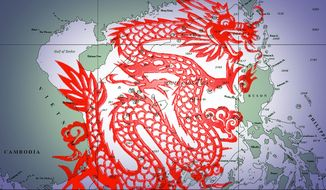 Illustration on the South China Sea by Alexander Hunter/The Washington Times