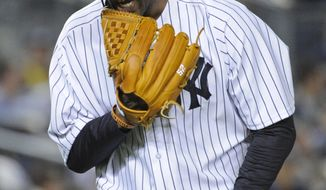 New York Yankees pitcher CC Sabathia reacts as he leaves the mound at the end of the sixth inning of a baseball game after the Boston Red Sox scored four runs Friday, April 11, 2014, at Yankee Stadium in New York. (AP Photo/Bill Kostroun)
